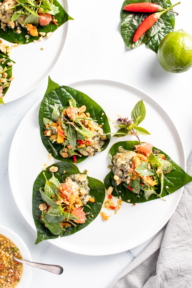 Eggplant Betel Leaves with Ginger Nam Jim Sauce